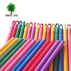 Por debajo de 1 dólar la tapa de plástico de color de larga acanalada palos de escoba de madera de pala blanco