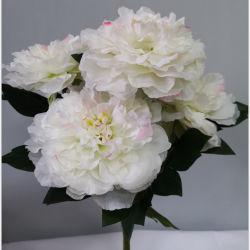 Usine 5 têtes de gros de fleurs de mariage de la soie Fleurs artificielles Pivoine