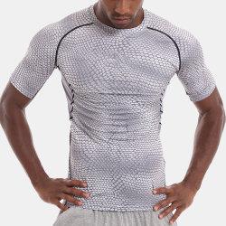 Os homens personalizado Ginásio Textura Snake respirável Camisa de compressão Sport executando Tshirt
