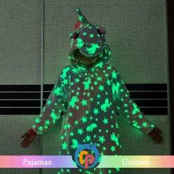 Pigiami luminosi dell'unicorno dei vestiti di nuova di stile della fabbrica di inverno della famiglia notte all'ingrosso poco costosa del partito