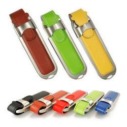 محرك أقراص USB محمول من الجلد بسعر الجملة، محرك أقراص USB محمول عالي الجودة سعة 4 جيجابايت، محرك أقراص USB ترويجي مع شعار مخصص