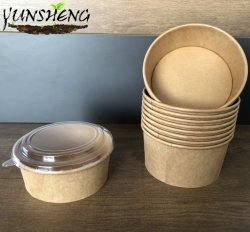 Ciotola a gettare su ordinazione della tagliatella di riso della minestra del documento del rivestimento di PLA del Kraft con i coperchi