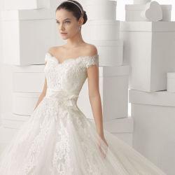 상류 신부 복장 하나 어깨 레이스 웨딩 드레스