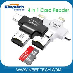 4 in 1 Micro- BR van de Bliksem USB OTG type-C Lezer van de Kaart voor iPhone en Androïde Mobiele Telefoon