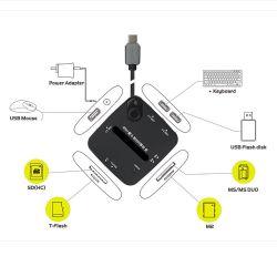 MacBook Nokia N1를 위한 USB3.1 유형 C 다중 Hub&TF/SD/Ms Cardreader 접합기
