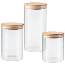 Séries 500/800/1200 ml Cozinha Casa De vidro borossilicato recipiente de armazenamento de alimentos Copo com tampa de bambu selada