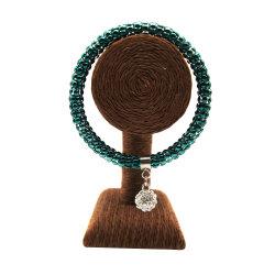 Form-Schmucksache-Platin überzogen (0.03μ) U. Elektrophorese-grüne Farben-Backen-Lackrhinestone-Kugel-Armband-Armband für weibliche Schmucksachen