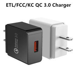 ETL/FCC/PSE/Kc утвердил 18W QC3.0 быстрая зарядка портативных USB-поездки быстрое зарядное устройство для телефона