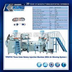 TPR/PVC Machine d'injection rotative à trois couleurs