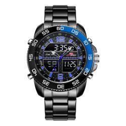 ساعة بلاستيكية هدية رجالي مع ساعة من الفولاذ المقاوم للصدأ كوارتز رقمي توقيت كرونوغراف ساعات الجودة