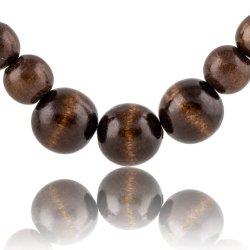Collar de abalorios de madera natural de madera maciza de temperamento Grimace Necklace