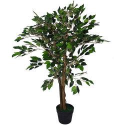 Albero artificiale del Ficus del Regno Unito 90cm di disegno del foglio/POT di plastica Pianta-Grande nero folto di figura, Ficus folto verde