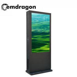 ماكينة إعلان خارجية لأرضية الزجاج الرأسي لمكيف الهواء مقاس 65 بوصة المس الحائط شاشة اللمس Full HD 1080p للصورة عالية الوضوح بالكامل لوحة إعلانات LCD لمشغل الوسائط