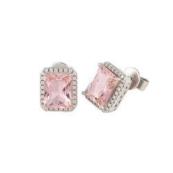 Bisutería con piedras Morganite 925 Joyería de Plata joyas de diamantes aretes de forma cuadrada