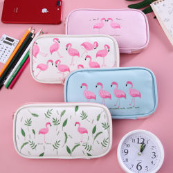 Case de fermeture à glissière multifonctionnelle de la Papeterie Pencilcase étudiant Sac crayon enfants Cartoon Flamingo Simple Sac de plumes