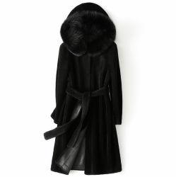 Nouveau design Mesdames long manteau de fourrure Slim de la laine avec col de fourrure de renard Down Jacket