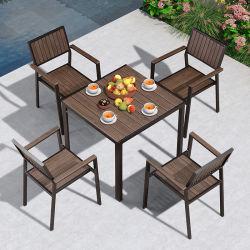 맞춤형 실외 모던 홈 호텔 레스토랑 빌라 알루미늄 플라스틱 나무 의자와 테이블 가든 파티오 다이닝 가구