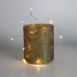 Nuevo diseño de Navidad de cristal brillante luz con control electrónico de Portavelas
