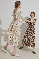 2020명의 새로운 여름 여자의 인쇄 해바라기 직업 높은 Waisted 프랑스 작풍 소녀의 긴 복장