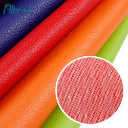 Paquete de cuero de grano de Litchi de 0,5 mm de tejido de cuero caja de vino papelería sofá de cuero artificial de PVC de cuero