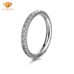 Mode bijoux Piercing en Acier inoxydable 316L anneau de nez de zircon anneau fermé une connexion transparente bague de nez Earrings Anneau segment Sspr076