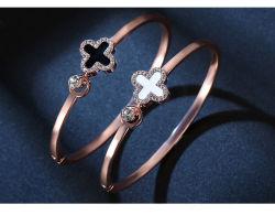 على غرار الكورية زهرة أربعة ورقة Clover Bracelet مجوهرات اكسسوارات النساء بانجلز ذهب الورد