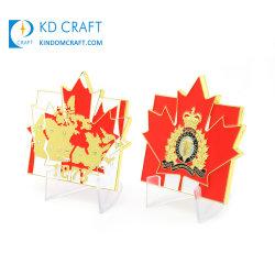 Китай производитель пользовательские кленового листа металла в форме цинкового сплава мягкой эмали военных Канада Королевской канадской конной полиции кжк задача монеты для продажи