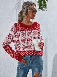 Crop Top Dames Kerst Sweater Dames Long Sleeve Pullover Round Nek Knit Dames Tops Winter Tops voor vrouwen