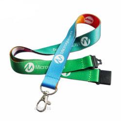 Comercio al por mayor regalo de promoción de promoción de la sublimación personalizado de impresión por transferencia Polyeter calentado el logotipo impreso en el cuello el cordón de la Oficina de hebilla gancho metálico para la insignia de la tarjeta de ID.