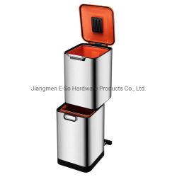 Indoor 40L Abnehmbare Doppelschicht-Kombination Klassifizierung Edelstahl Mülleimer Mit Filterbox