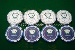 11.5gプラスチック8縞のカスタムステッカーのポーカー用のチップ