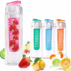 Bouteille d'eau de sport en plastique avec des fruits et jus d'infuser Couvercle Faire Bouteille 750ml