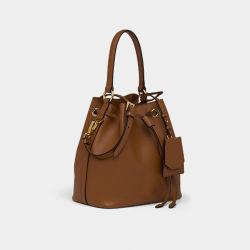 標準的なSaffianoの革バケツの女性ショルダー・バッグ