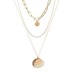 مجوهرات الموضة متعددة الطبقات عقد إسقاط مع بيرل وشل
