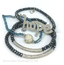 Venda por grosso de vidro cristal Bracelete Letra Moda Cordão multifacetada Bangle
