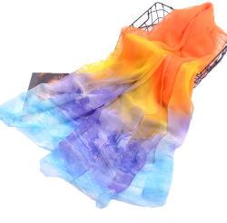 Impression personnalisée de l'été fine mousseline de soie écharpe châle en polyester pour dame