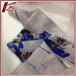 Flower Imprimir 100% Seda tecido organza transparente