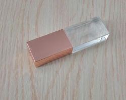 منتج جديد! محرك أقراص فلاش Rose Gold Crystal USB USB 2.0/3.0 مع شعار منقوش ثلاثي الأبعاد