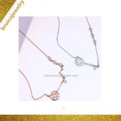 Popular diseño de moda collar con colgantes en forma de clave mayorista Collar de Oro con CZ