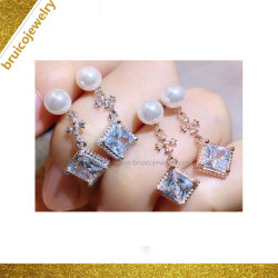 Il modo ciondola i monili del diamante dell'argento dei monili dell'orecchino con la perla
