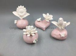 Difusor de perfume de cerámica de lujo con escultura de cerámica mate en la parte superior de la flor de Pet de verificación de la fragancia de interior