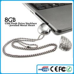 Regalo de Bodas 2015 Collar Corazón metal enjoyados 8GB USB Flash Drive