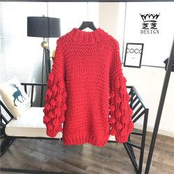 손은 여자를 위한 아크릴 느슨한 스웨터, 형식 스웨터 둥근 목 도매를 만들었다