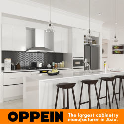 Commerce de gros de la laque blanc moderne en bois avec des armoires de cuisine (OP16 de l'Île-Villa01K)