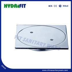 Square drainer de plancher en alliage de zinc avec plein de couvercle fixe de la vis (FD3114)