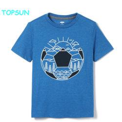 L'estate rotonda del bambino della maglietta del manicotto di Short del collo dei bambini di alta qualità stampata copre l'abito normale del cotone dei ragazzi