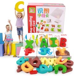 Tabela de alfabeto aritmética na leitura do Cartão Cartão de aprendizagem do ensino precoce de cognição brinquedos de madeira por grosso 3-4-5-anos crianças Puzzle