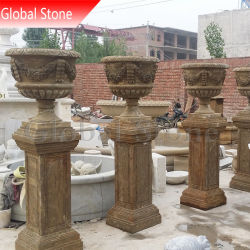 La sculpture de marbre antique Flower Pot du semoir pour la décoration de jardin (GSP-166)