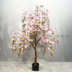 큰 화분에 심는 플랜트 인공적인 분홍색 꽃 나무 인공적인 벚꽃 나무