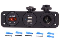 Caricabatteria doppio USB a tripla funzione + voltmetro a LED blu Presa da pannello + 12 V presa da pannello Jack Marine per Digital Mobile Tablet per telefoni